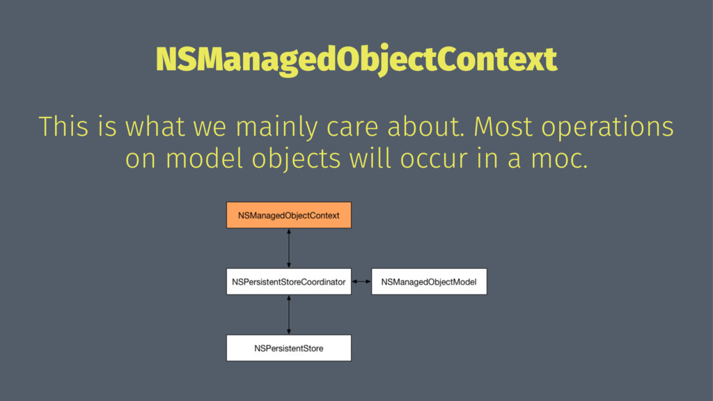 NSManagedObjectContext This is what we mainly c...