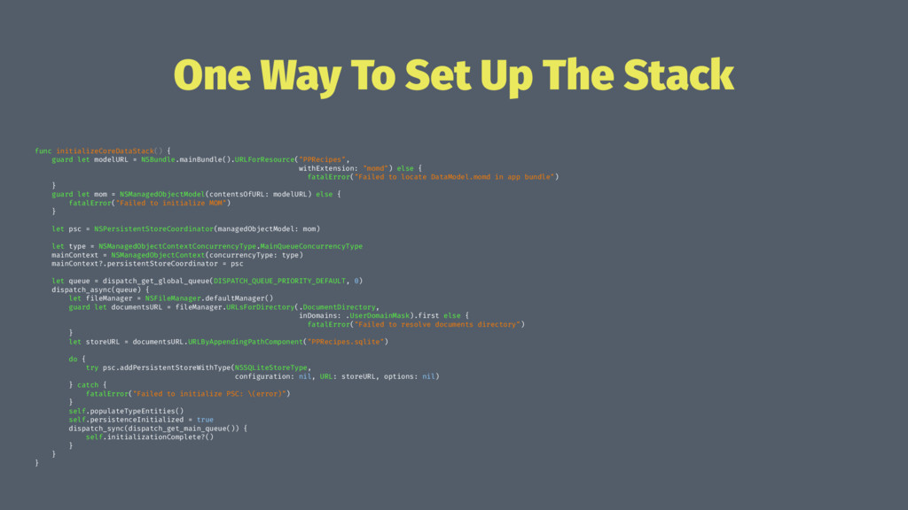 One Way To Set Up The Stack func initializeCore...