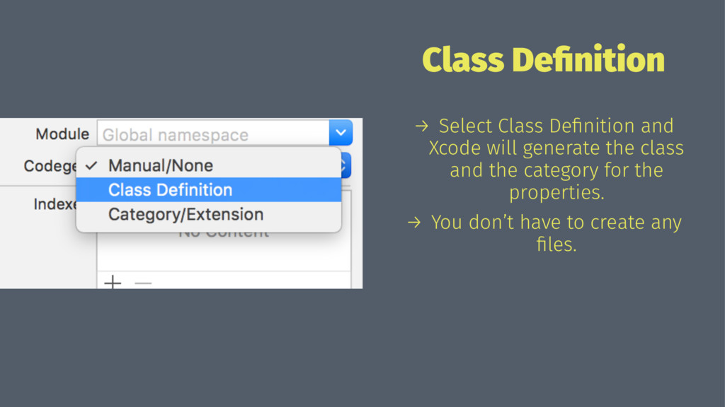 Class Definition → Select Class Definition and Xc...