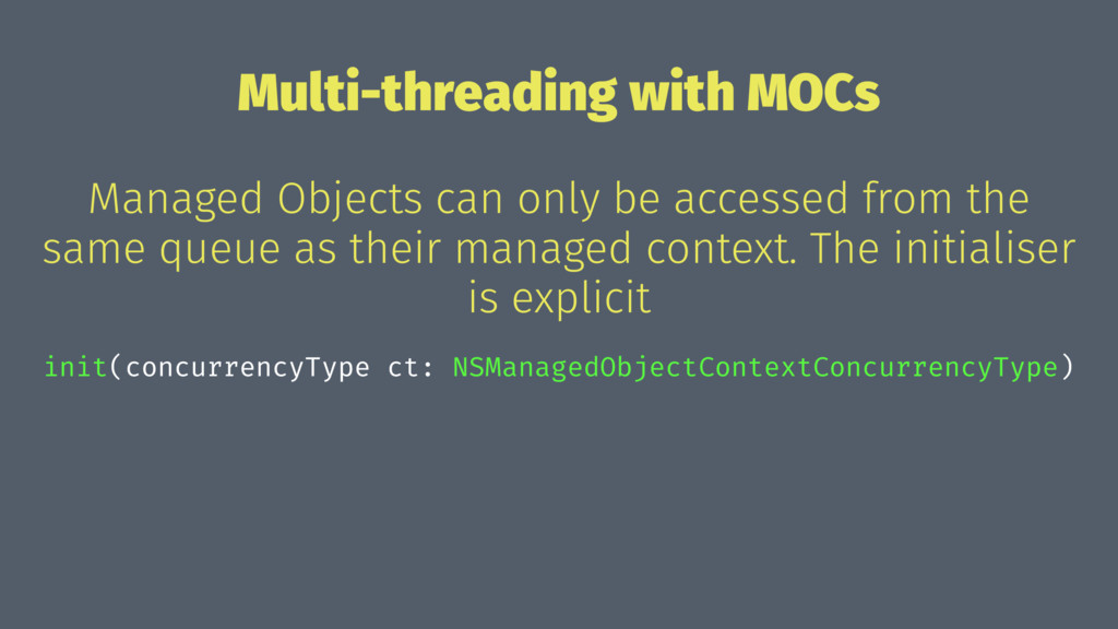 Multi-threading with MOCs Managed Objects can o...