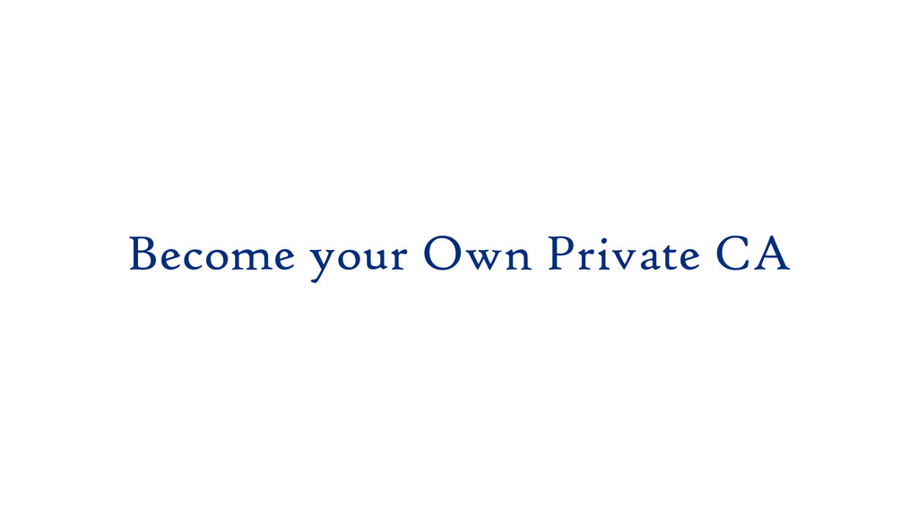 Become your Own Private CA