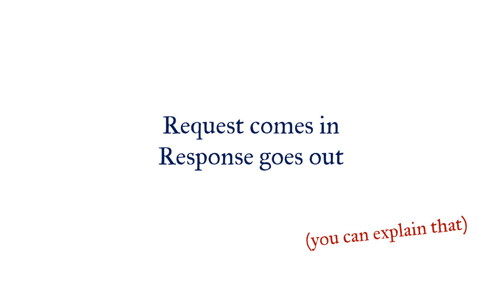 Request comes in Response goes out (you can exp...