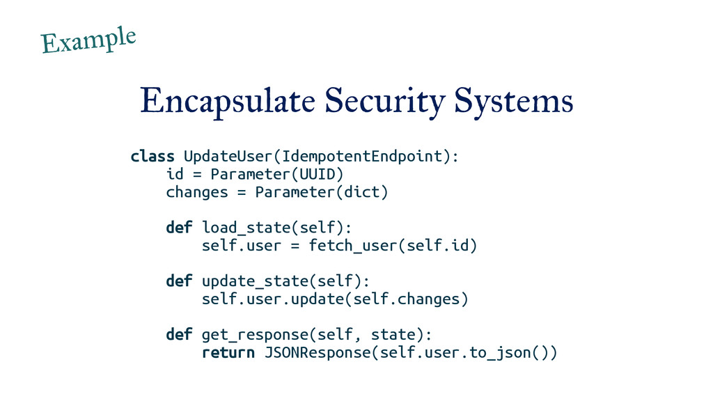 Encapsulate Security Systems class UpdateUser(I...