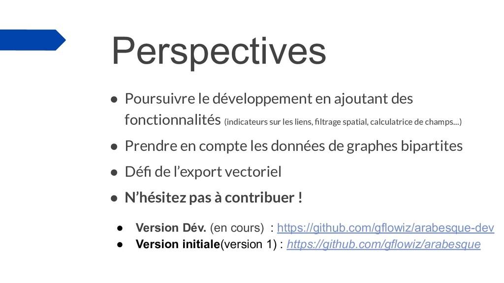 Perspectives ● Poursuivre le développement en a...