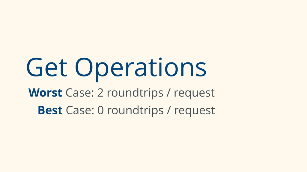 Get Operations Worst Case: 2 roundtrips / reque...