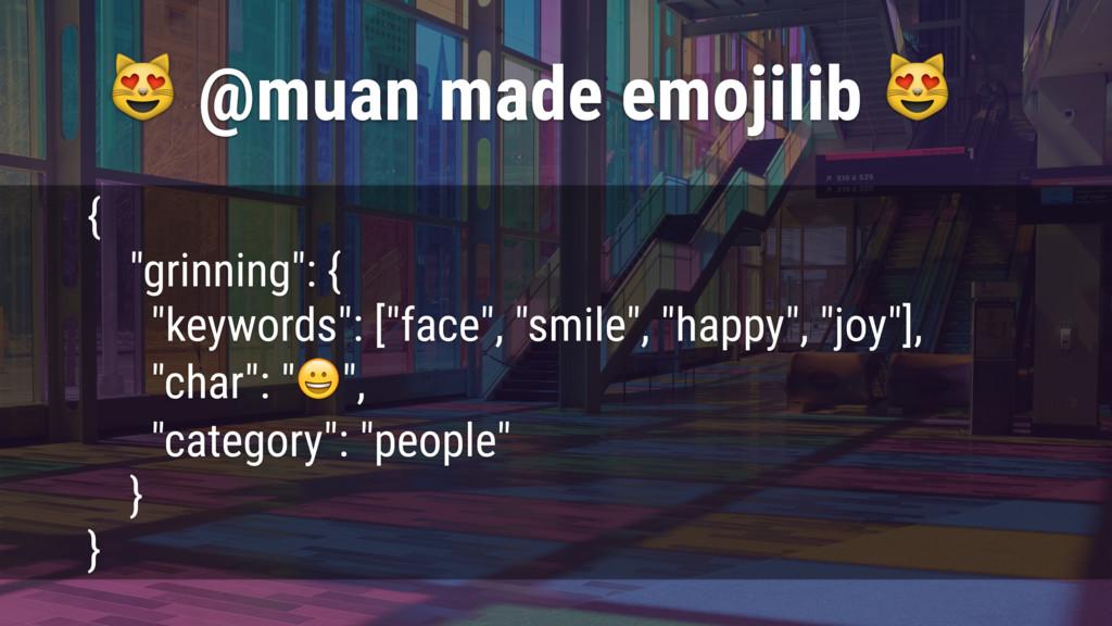 "@muan made emojilib  { ""grinning"": { ""keywords..."