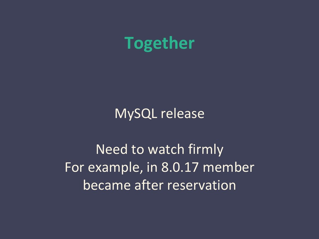 Together MySQL release Need to watch firmly For...