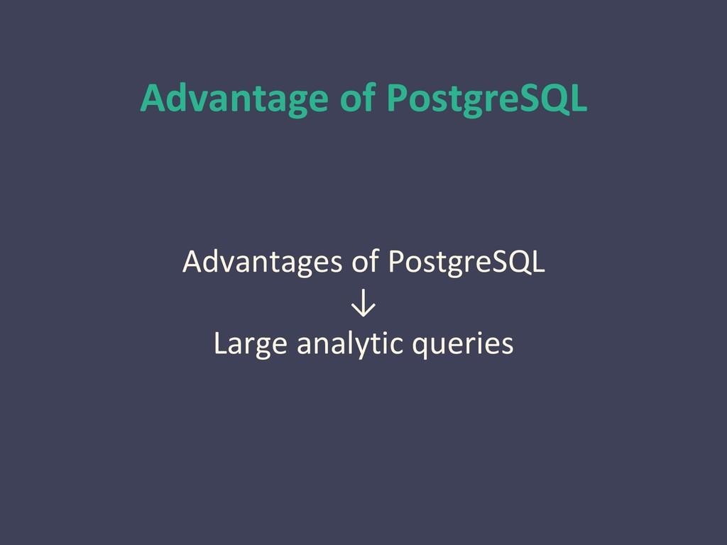 Advantage of PostgreSQL Advantages of PostgreSQ...