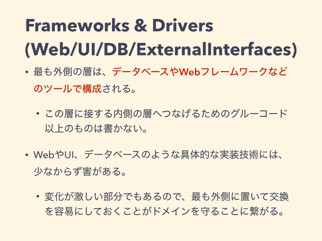 Frameworks & Drivers (Web/UI/DB/ExternalInterfa...