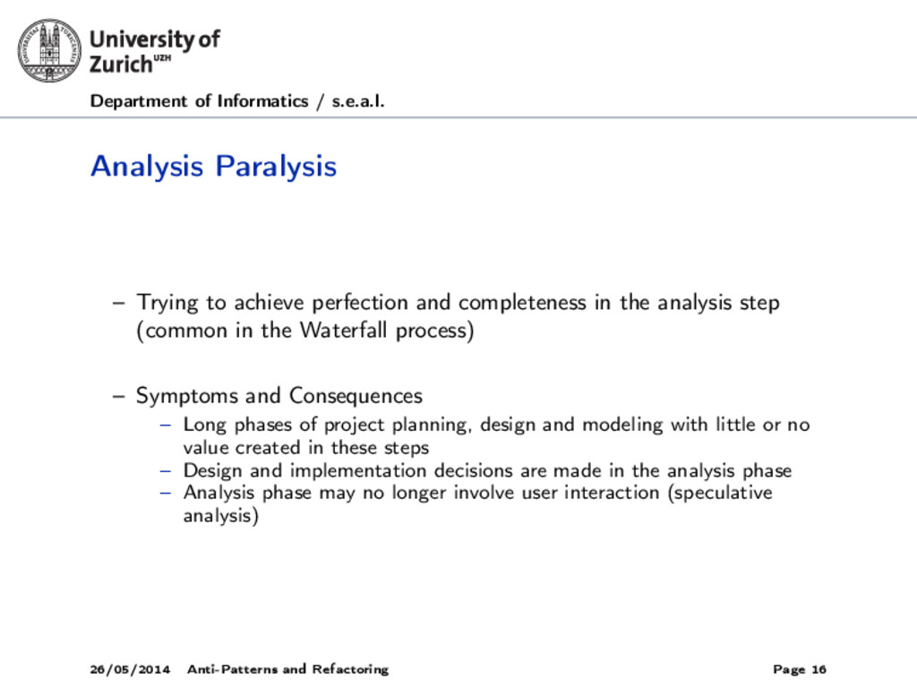 Department of Informatics / s.e.a.l. Analysis P...