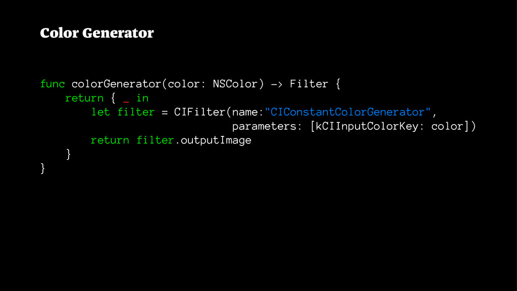 Color Generator func colorGenerator(color: NSCo...