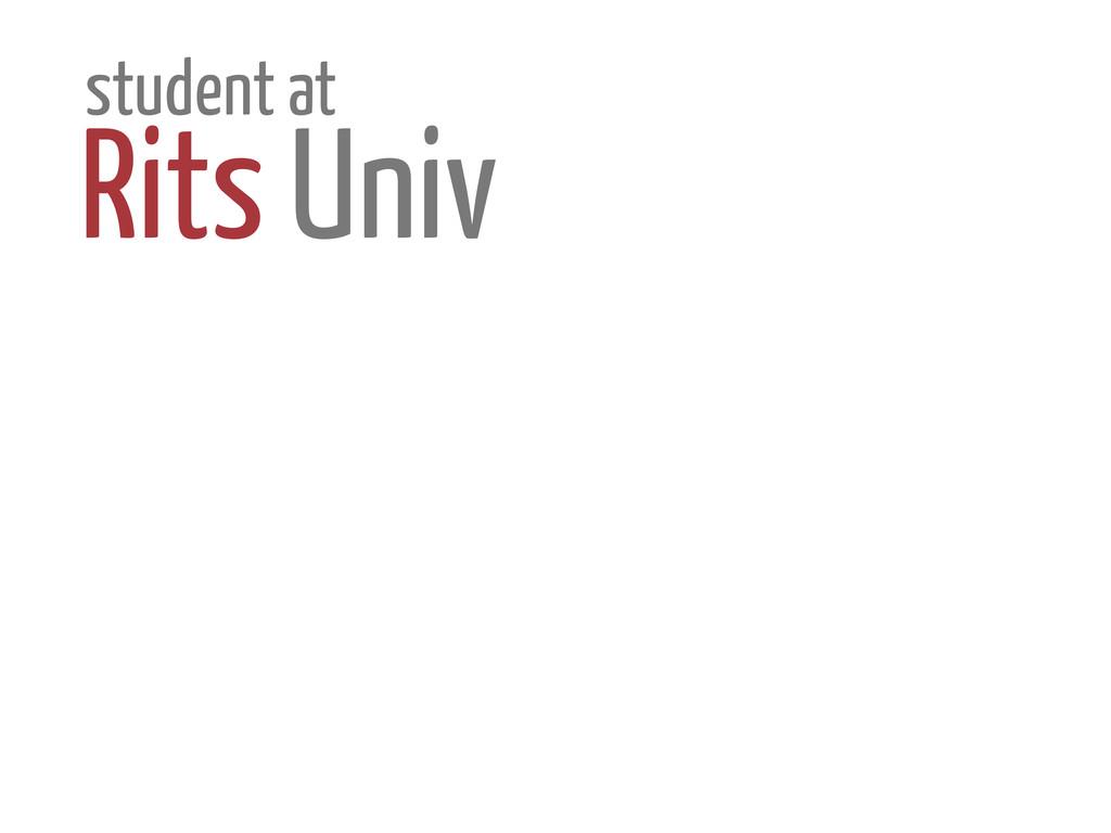 student at Rits Univ