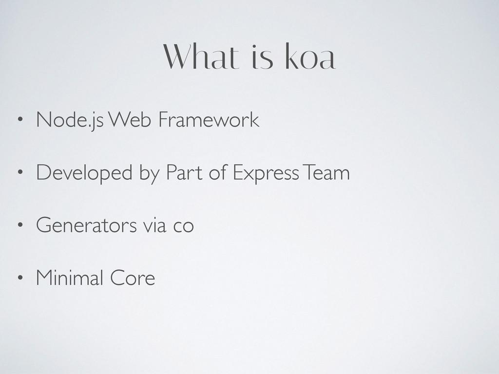 What is koa • Node.js Web Framework • Developed...