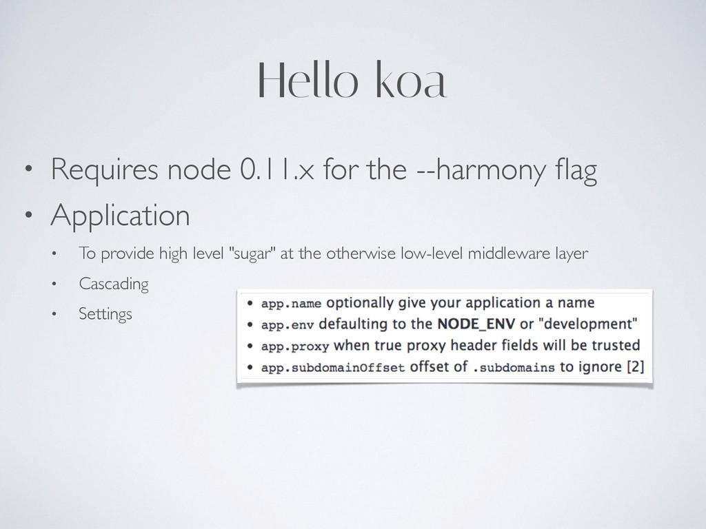 Hello koa • Requires node 0.11.x for the --harm...