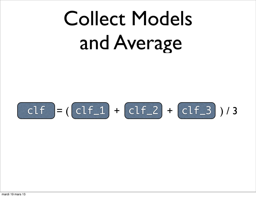Collect Models and Average clf = ( clf_1 + clf_...