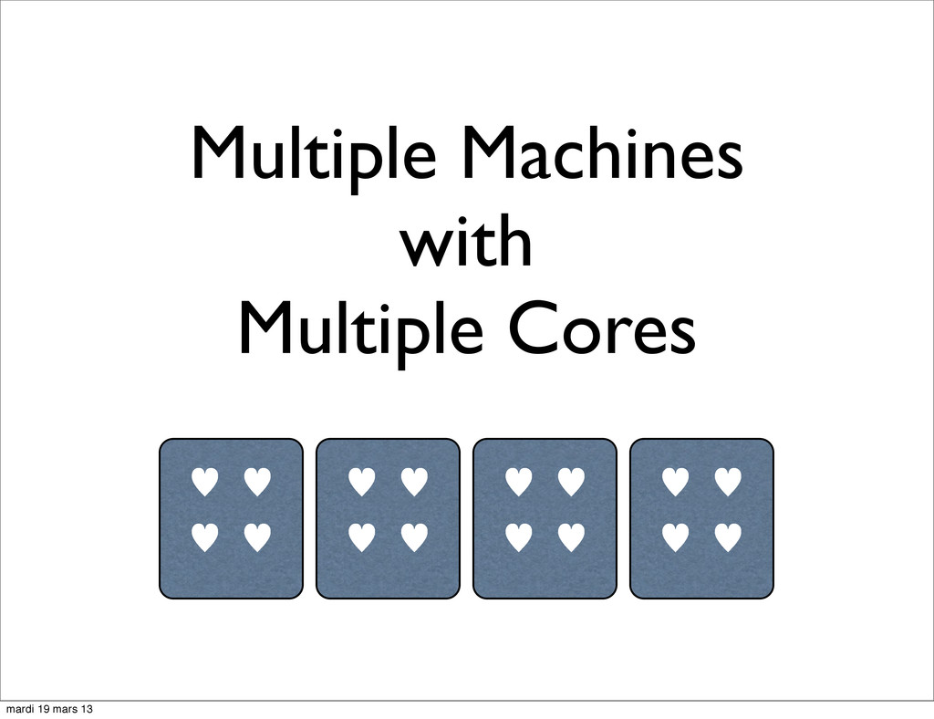 Multiple Machines with Multiple Cores — — — — —...