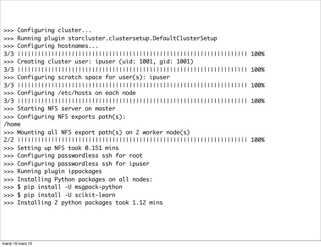 >>> Configuring cluster... >>> Running plugin s...