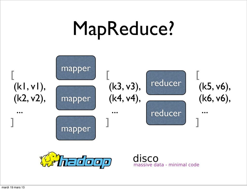 MapReduce? [ (k1, v1), (k2, v2), ... ] mapper m...