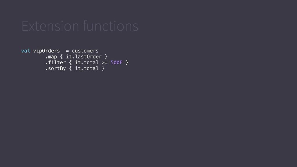 Extension functions val vipOrders = customers ....