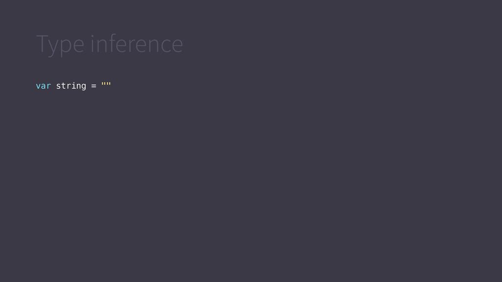 "Type inference var string = """""