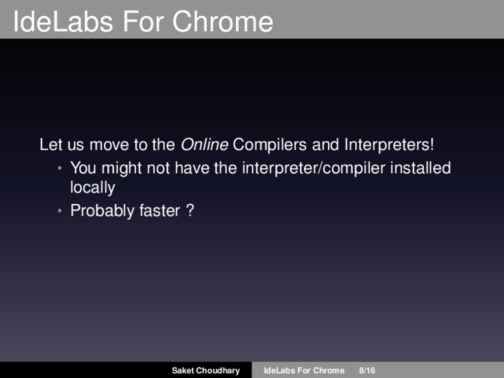 IdeLabs For Chrome Let us move to the Online Co...
