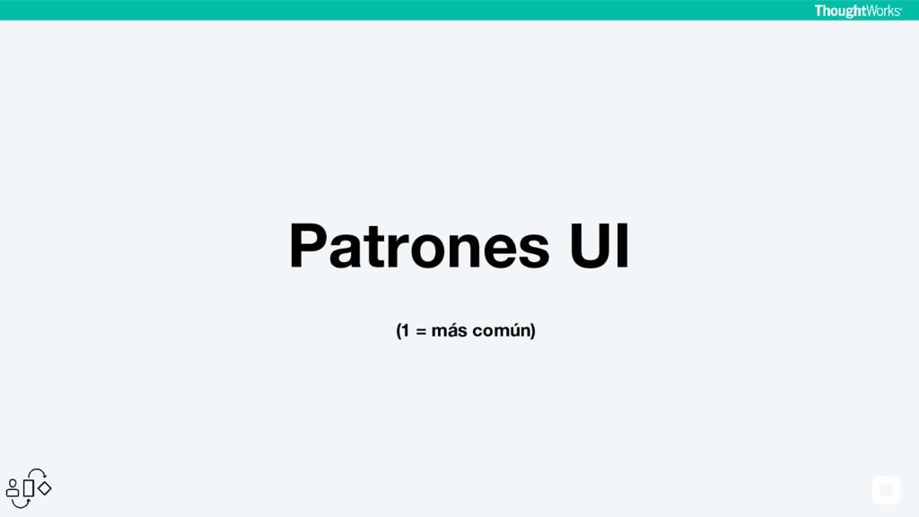 Patrones UI (1 = más común)