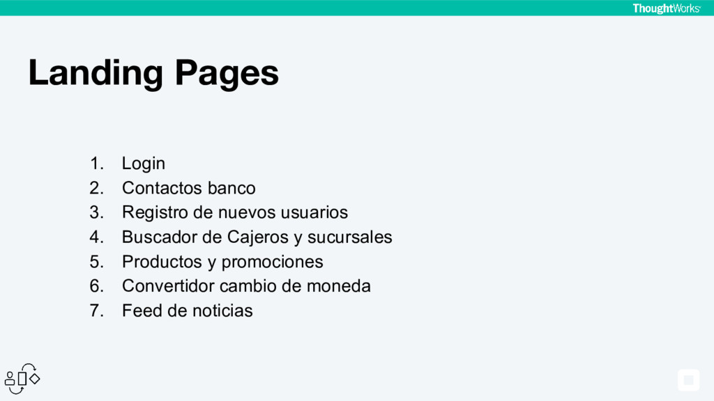 Landing Pages 1. Login 2. Contactos banco 3. Re...
