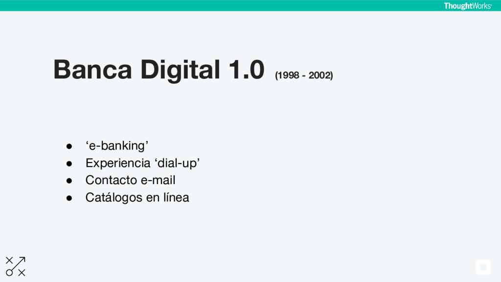 Banca Digital 1.0 (1998 - 2002) ● 'e-banking' ●...
