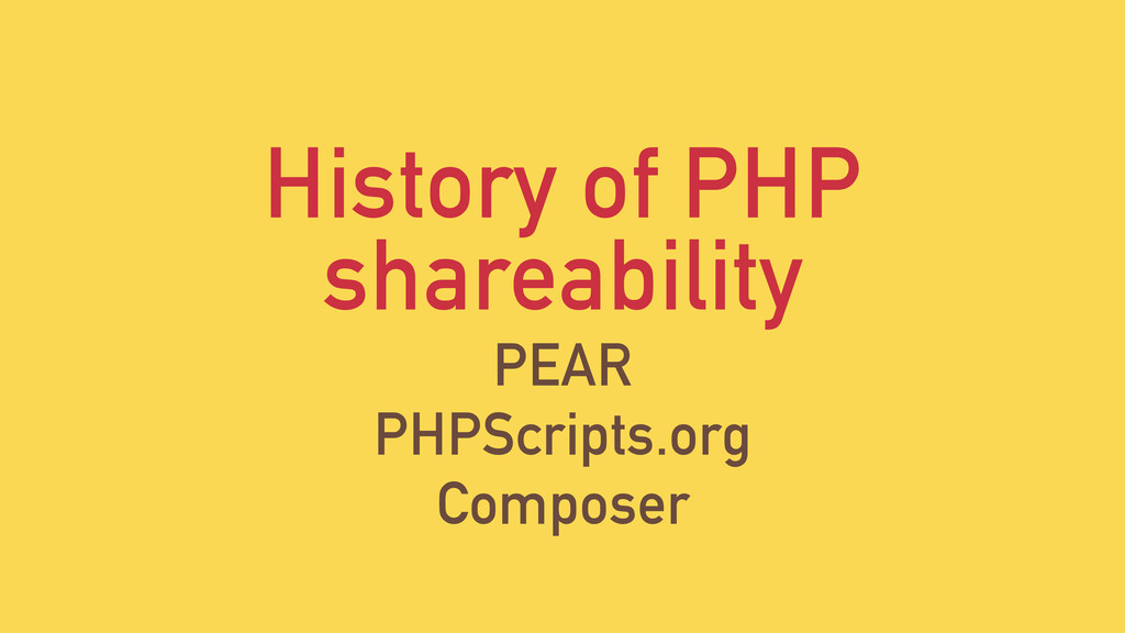 History of PHP shareability PEAR PHPScripts.org...