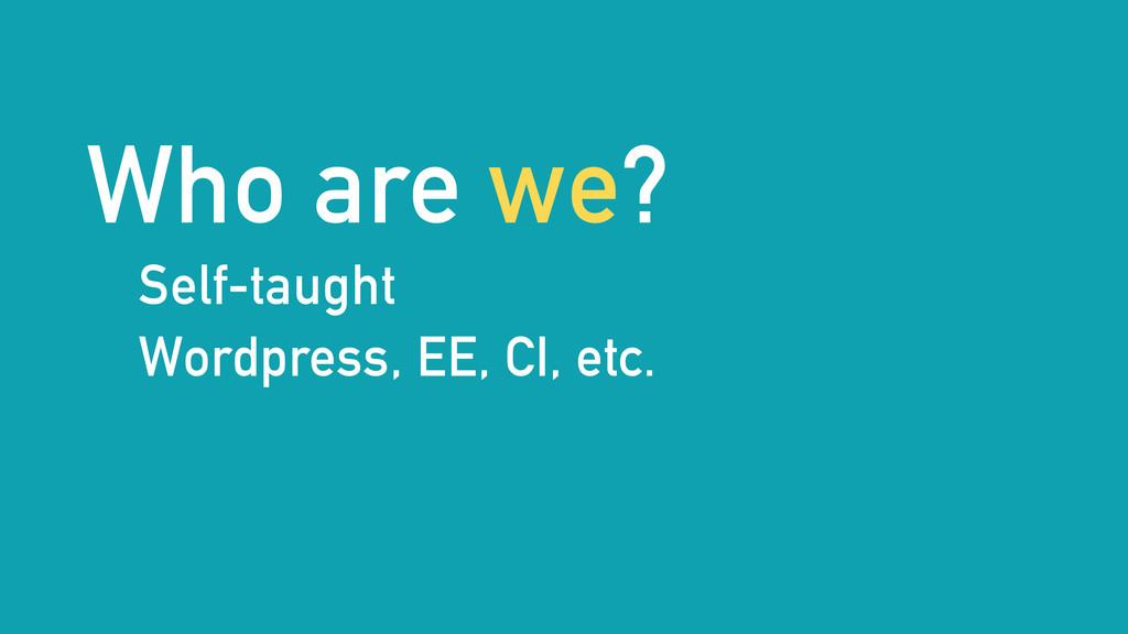Who are we? Self-taught Wordpress, EE, CI, etc.