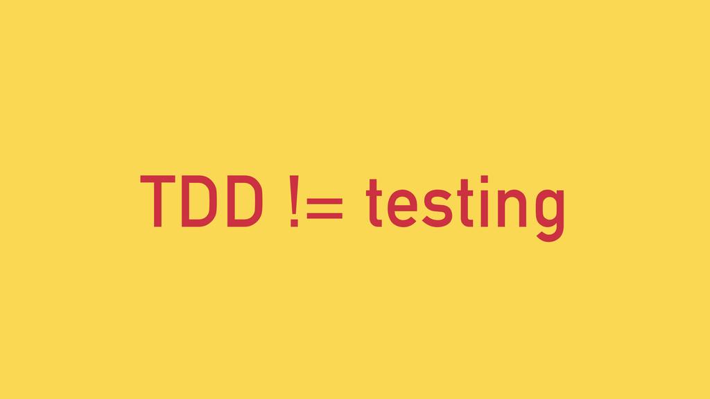 TDD != testing