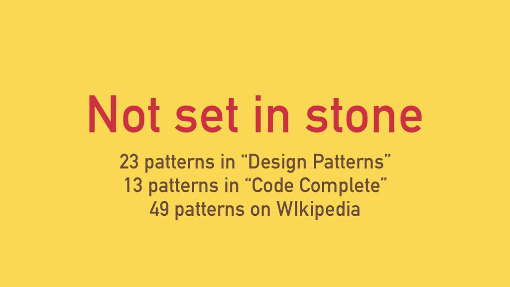 "Not set in stone 23 patterns in ""Design Pattern..."