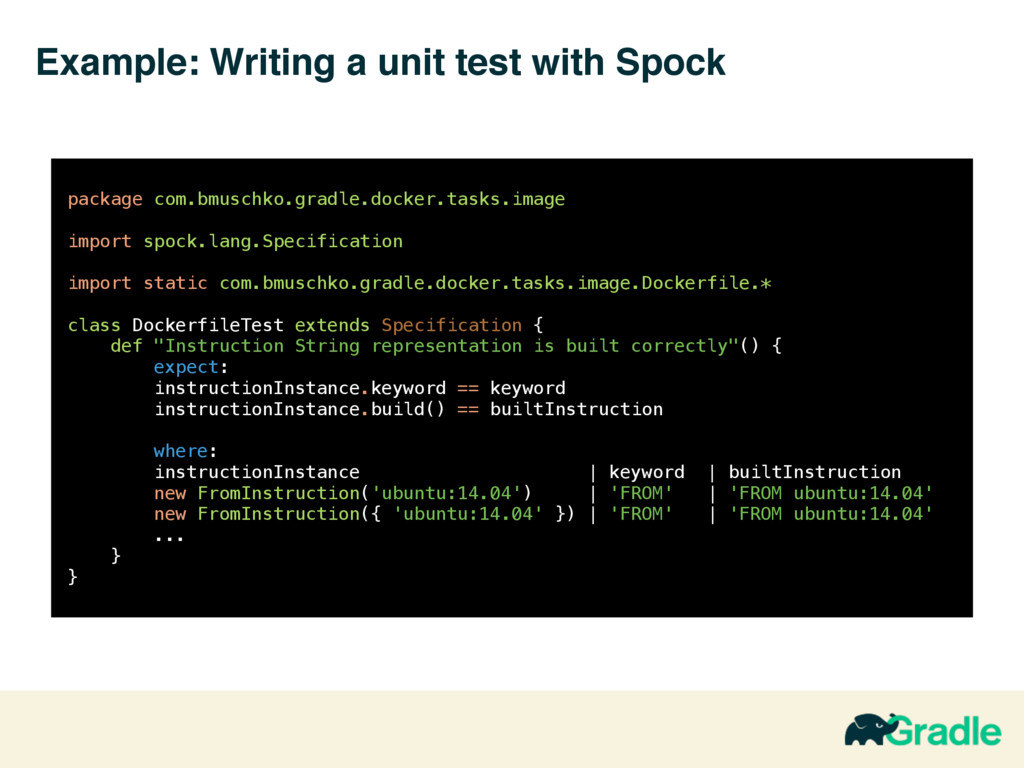 Example: Writing a unit test with Spock 