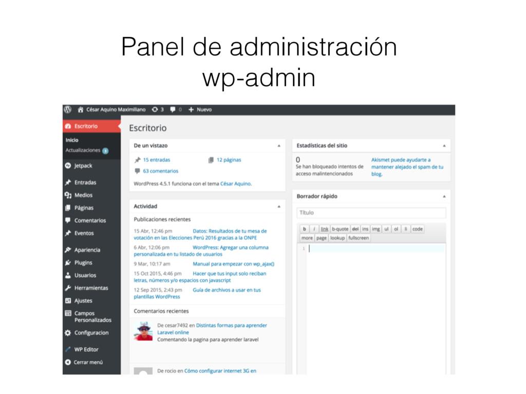 Panel de administración wp-admin