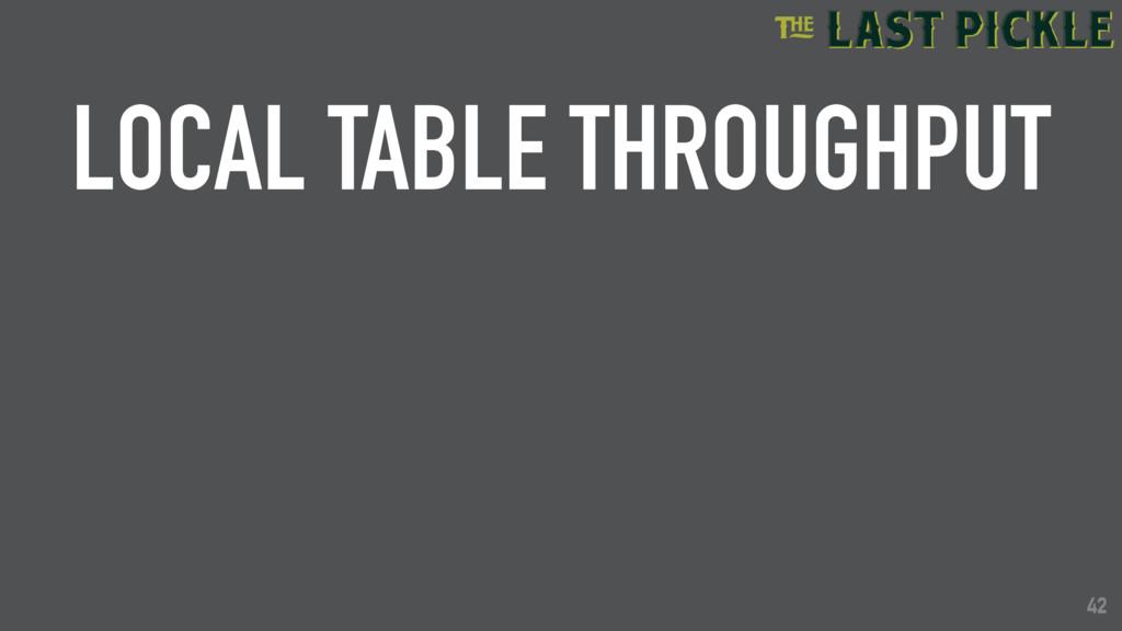 42 LOCAL TABLE THROUGHPUT 42