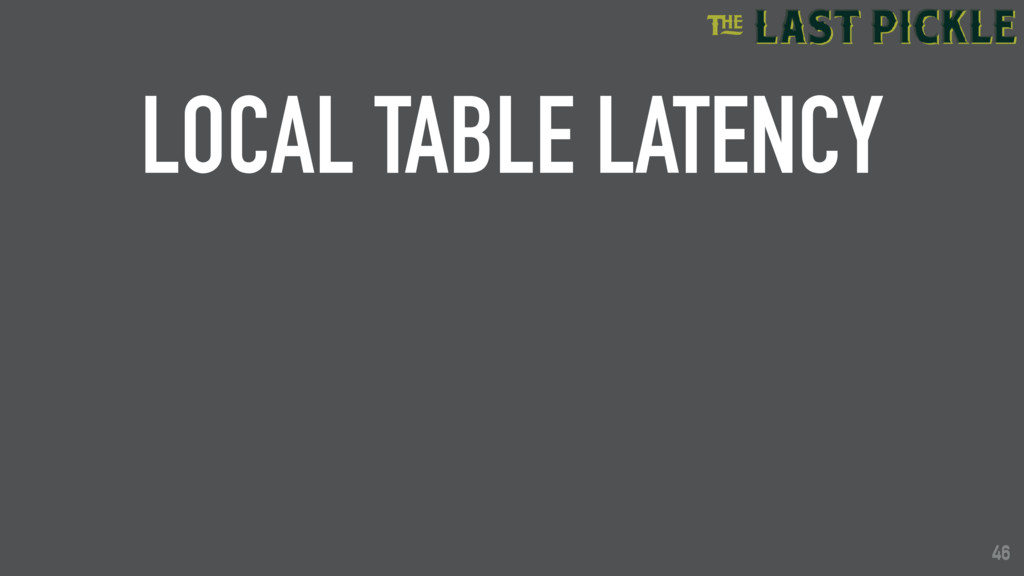 46 LOCAL TABLE LATENCY 46