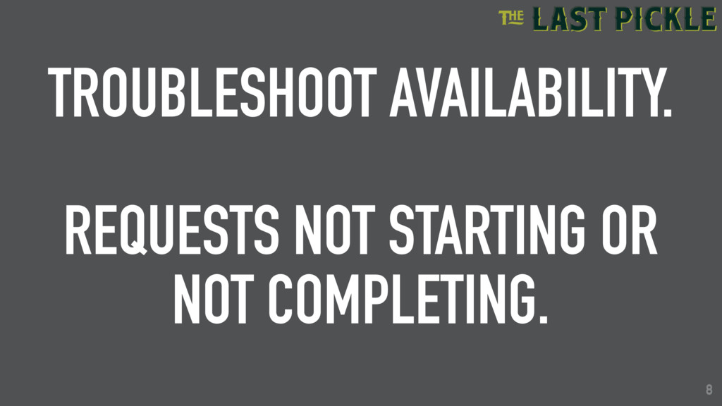 8 TROUBLESHOOT AVAILABILITY. REQUESTS NOT START...