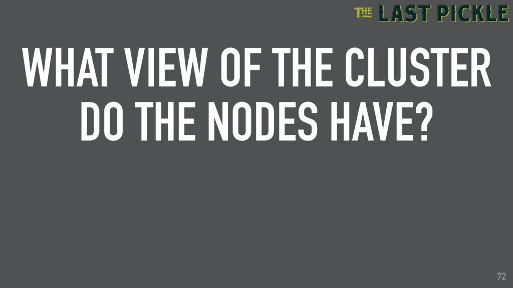 72 WHAT VIEW OF THE CLUSTER DO THE NODES HAVE? ...