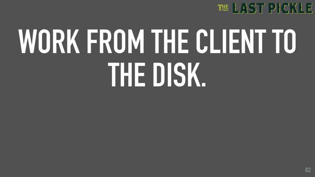 82 WORK FROM THE CLIENT TO THE DISK. 82