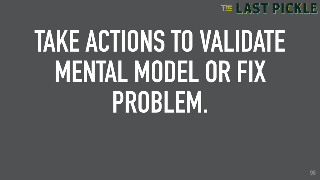 96 TAKE ACTIONS TO VALIDATE MENTAL MODEL OR FIX...