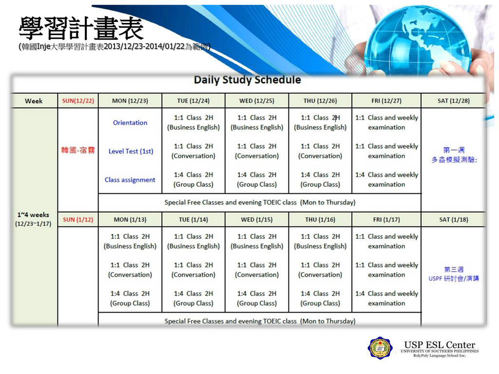 學習計畫表 (韓國Inje大學學習計畫表2013/12/23-2014/01/22為範例)