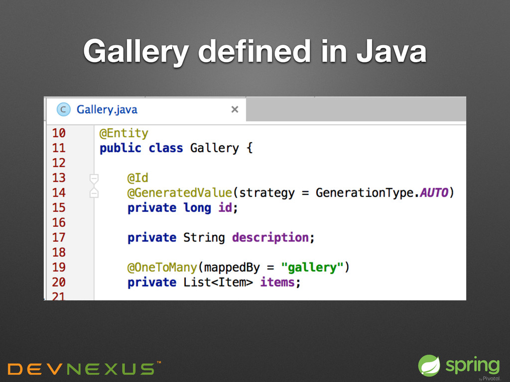 Gallery defined in Java