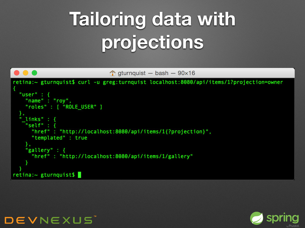 Tailoring data with projections