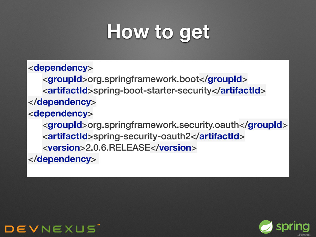 How to get <dependency> <groupId>org.springfra...