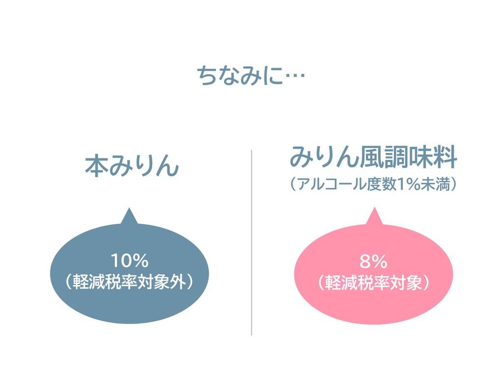 8% (軽減税率対象) 10% (軽減税率対象外) 本みりん みりん風調味料 ちなみに… (ア...
