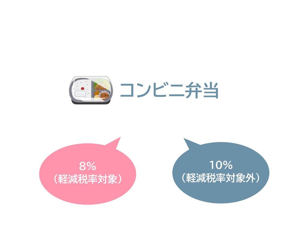 8% (軽減税率対象) 10% (軽減税率対象外) コンビニ弁当