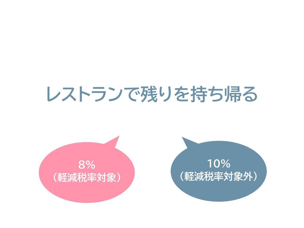 8% (軽減税率対象) レストランで残りを持ち帰る 10% (軽減税率対象外)