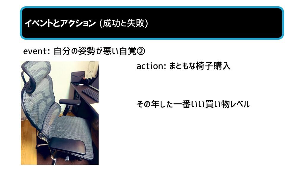 event: 自分の姿勢が悪い自覚② イベントとアクション (成功と失敗) action: ま...