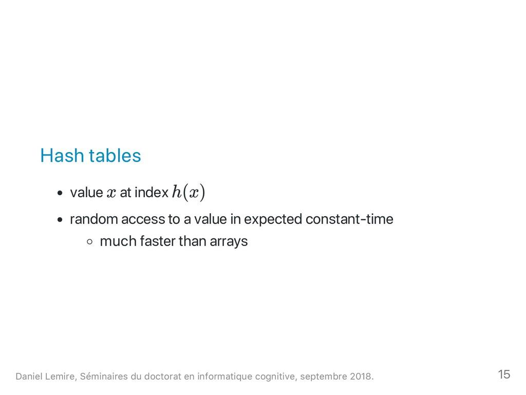 Hash tables value x at index h(x) random access...