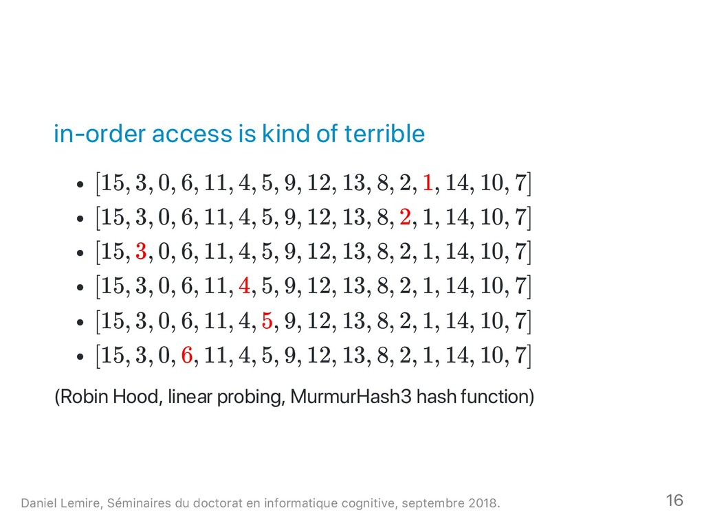 in‑order access is kind of terrible [15, 3, 0, ...